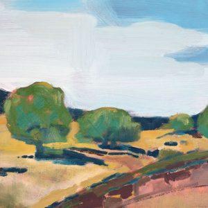 "Field & Trees 11"" x 14"" oil on birch panel"