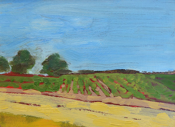 "Farm 5"" x 7"" oil on birch panel"