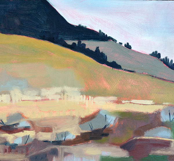 "Foothills 11"" x 14"" oil on birch panel"
