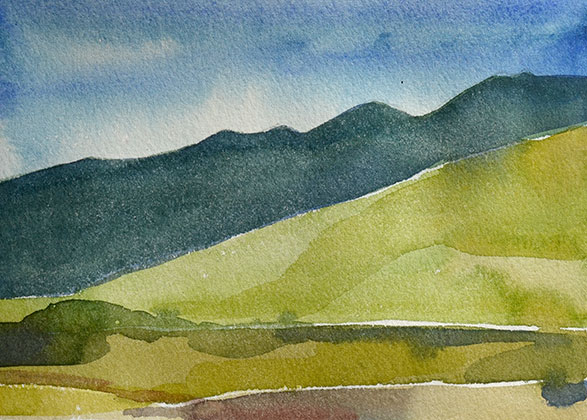 "Mountain Study III 5"" x 7"" watercolor"