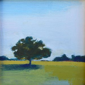 "Oak Tree 4"" x 4"" oil on birch panel"