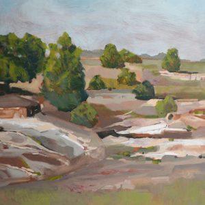 "Rocks & Trees 30"" x 30"" - oil on birch panel"